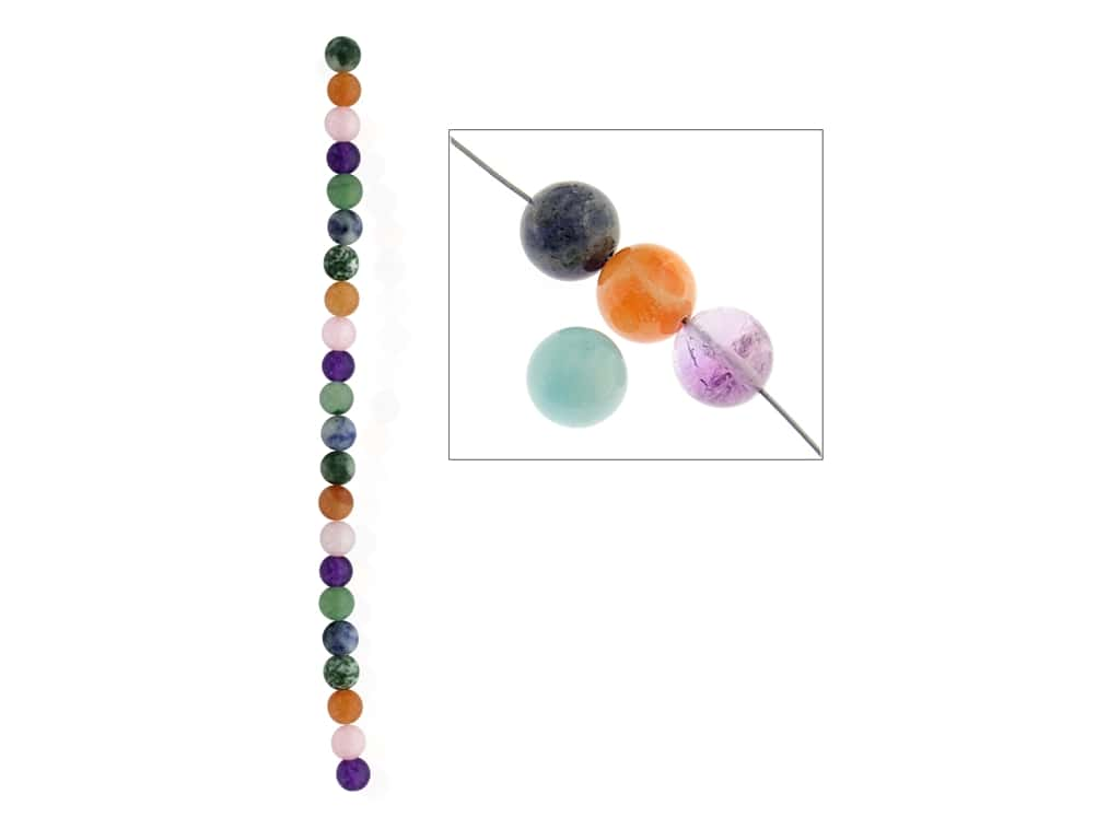 John Bead Semi Precious Bead 8 in. Mixed 8 mm Round