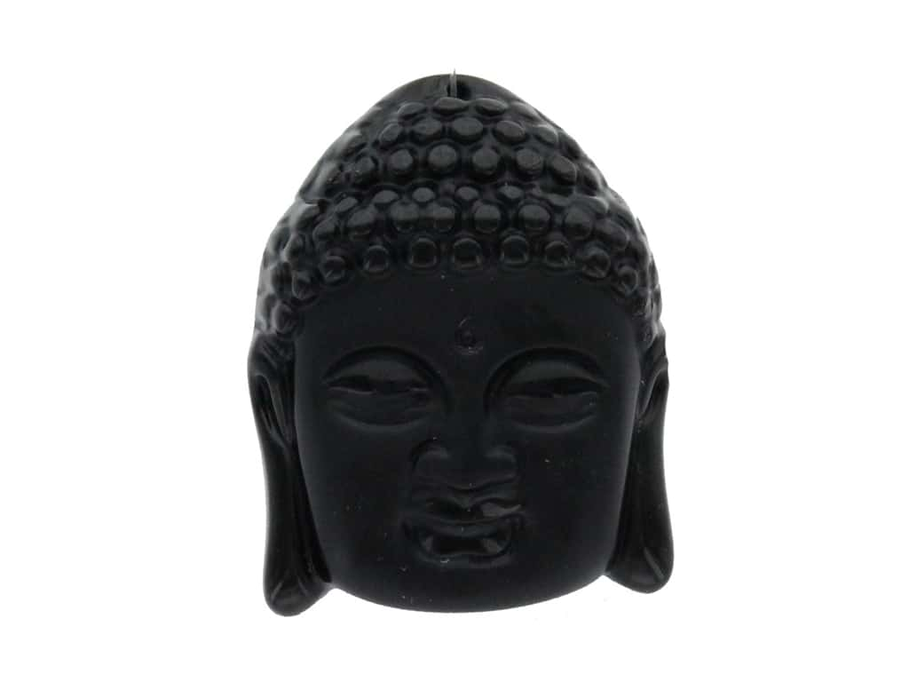 John Bead Craft Bead Glass Pendant Buddha 38x49mm Face Black