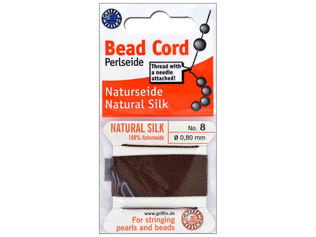 Beadalon Cord 100% Silk Size 8 Brown 2M