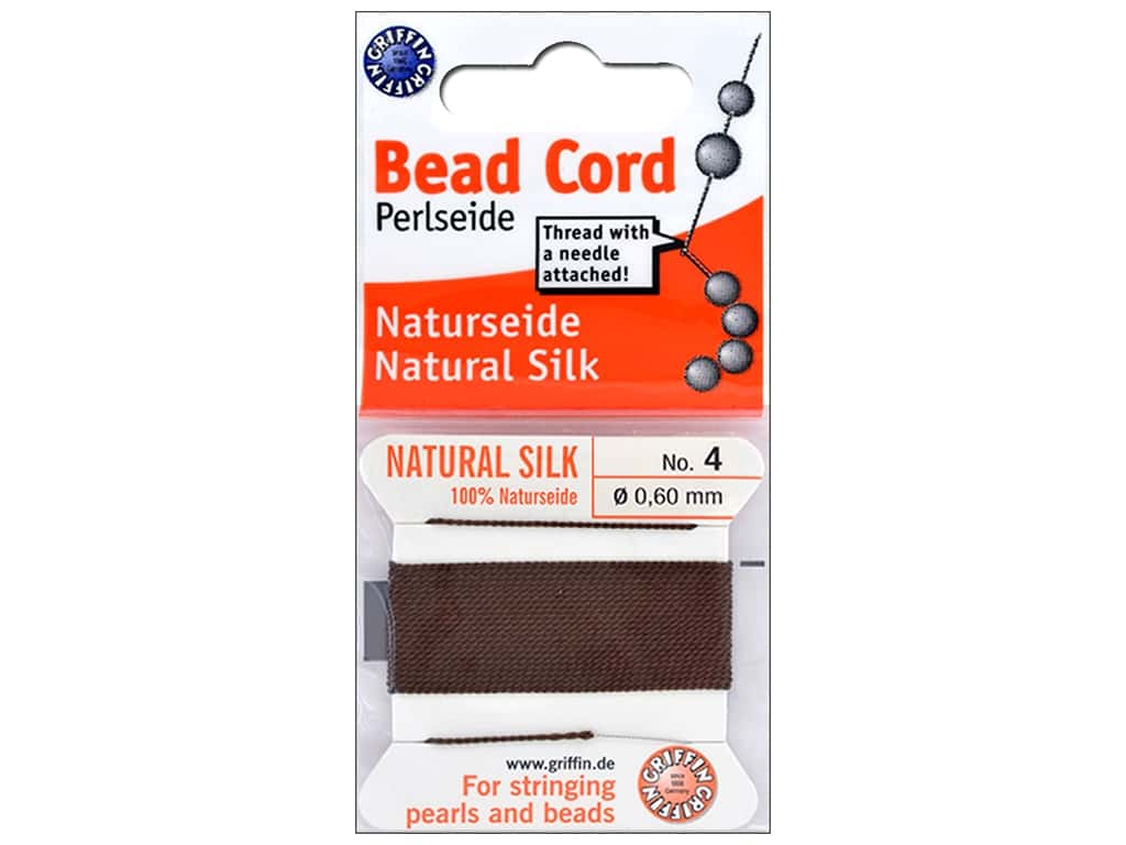 Beadalon Cord 100% Silk Size 4 Brown 2M