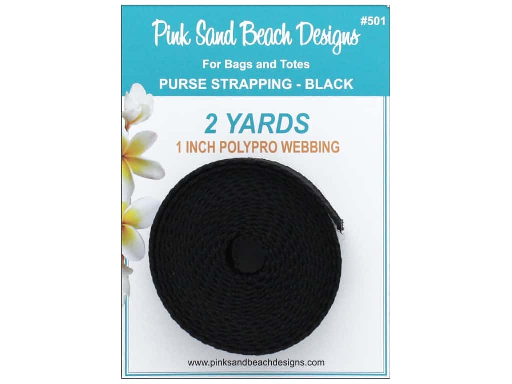 """Pink Sand Beach Accessories Purse Strapping 1""""x 2yd Black"""