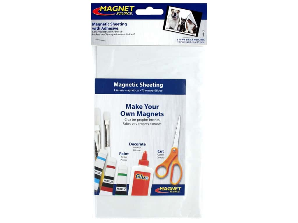The Magnet Source Flexible Magnetic Sheeting with Adhesive 5 x 8 in.