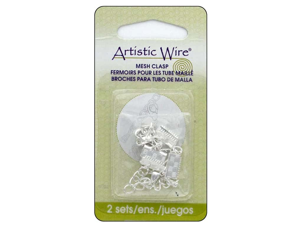 Artistic Wire Mesh Clasp with Extension Chain & Lobster Clasp 3/8 in. 2 pc. Silver Plated