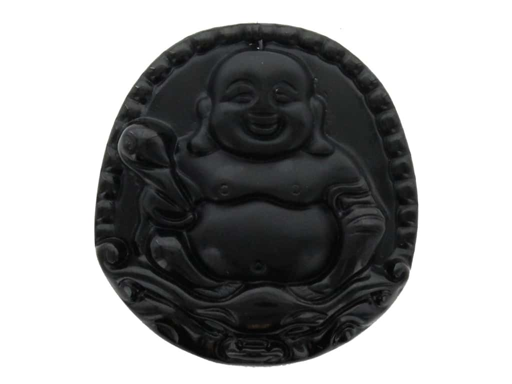 John Bead Craft Bead Glass Pendant Buddha 49x52mm Sitting Black