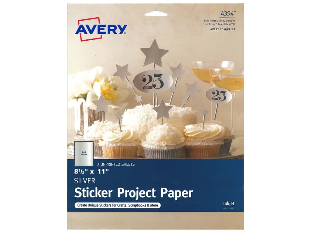 Avery Printable Sticker Paper 8 1/2 x 11 in. 3 pc. Silver