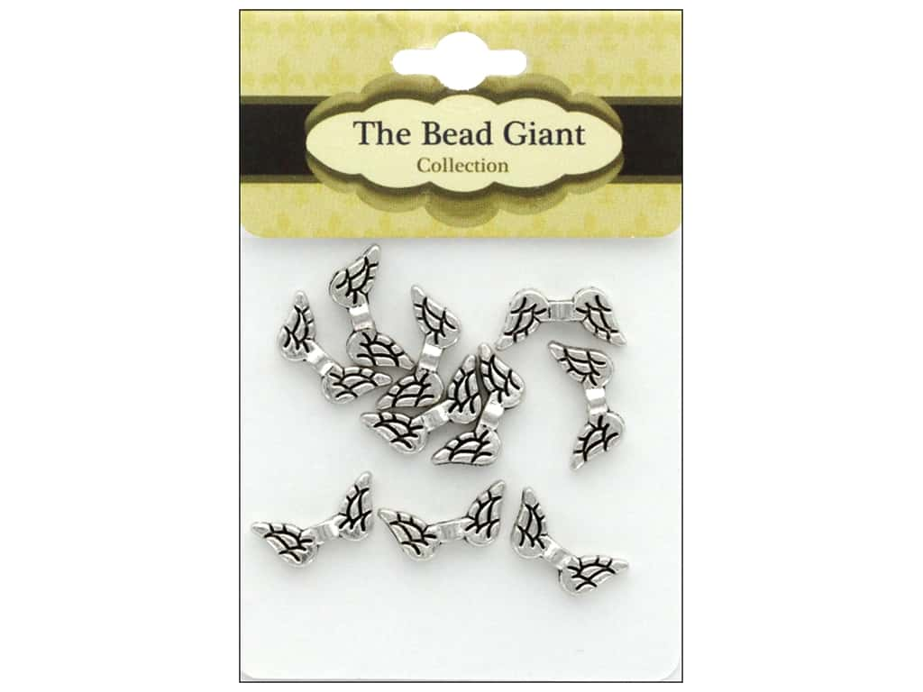 The Bead Giant Bead Angel Wing 20 mm Silver 10 pc