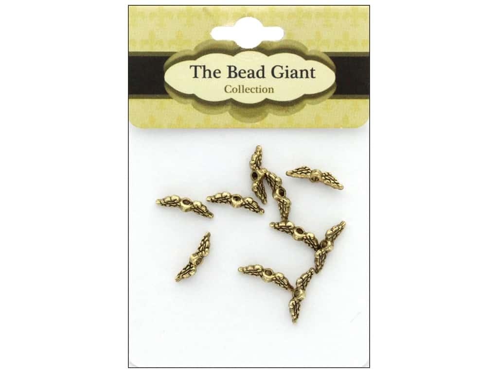 The Bead Giant Bead Angel Wing Mini Gold 10pc
