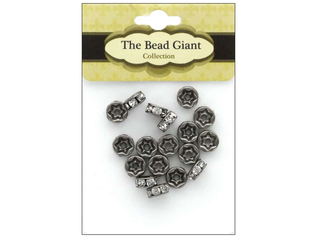 The Bead Giant Bead Disc Rhinestone 7mm Antique Silver 18pc