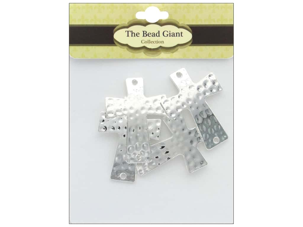 The Bead Giant Bead Hammered Cross Silver 4pc