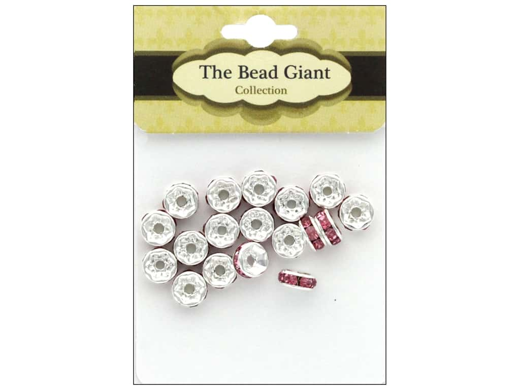 The Bead Giant Bead Disc Rhinestone 7mm Pink 18pc