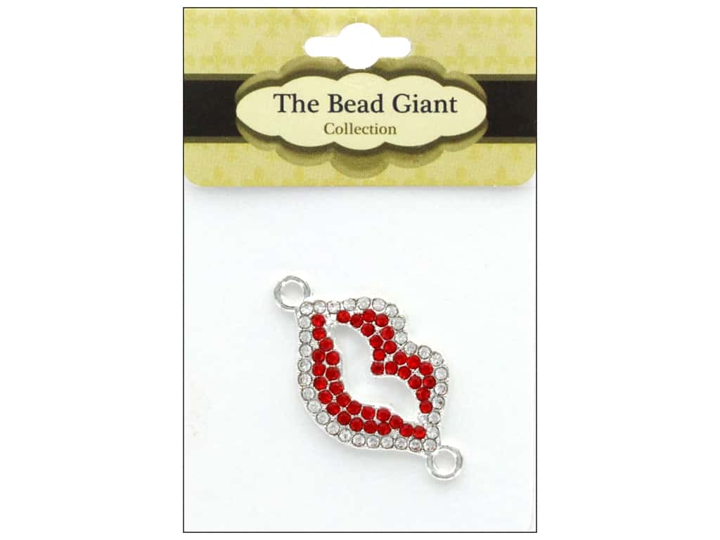 The Bead Giant Jewelry Bead Rhinestone Lips Red/Silver