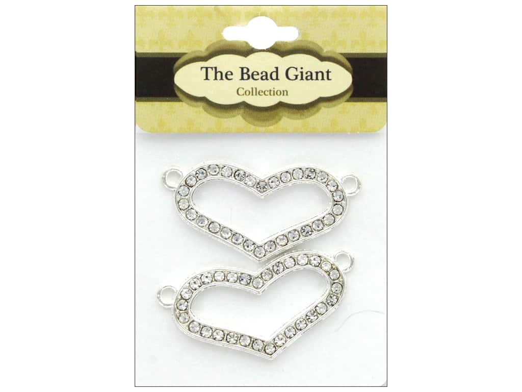 The Bead Giant Bead 2 Loop Heart Silver 2pc