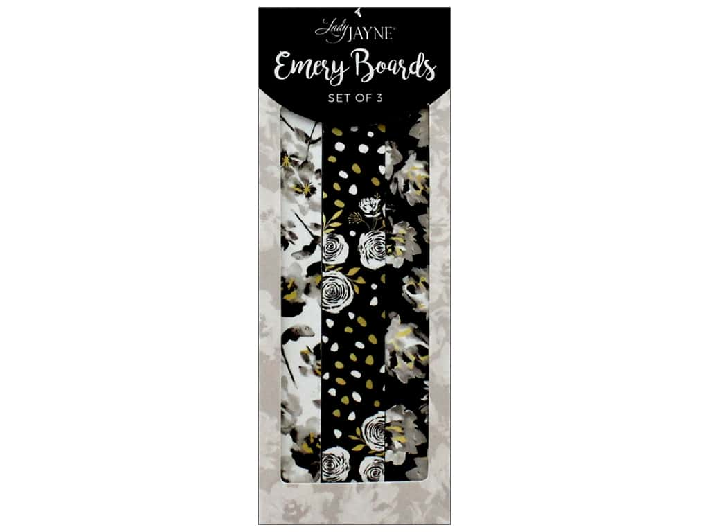 Lady Jayne Nail File Emery Board Glam Florals Set of 3