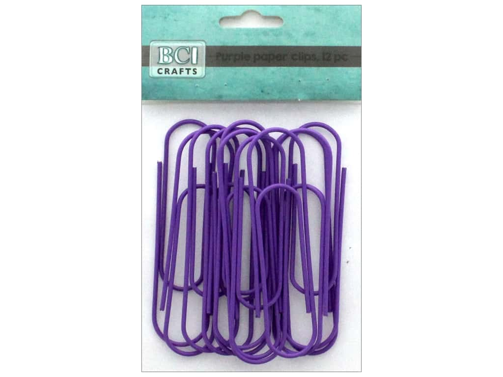 "BCI Crafts Paper Clips Metal 4"" Purple 12pc"