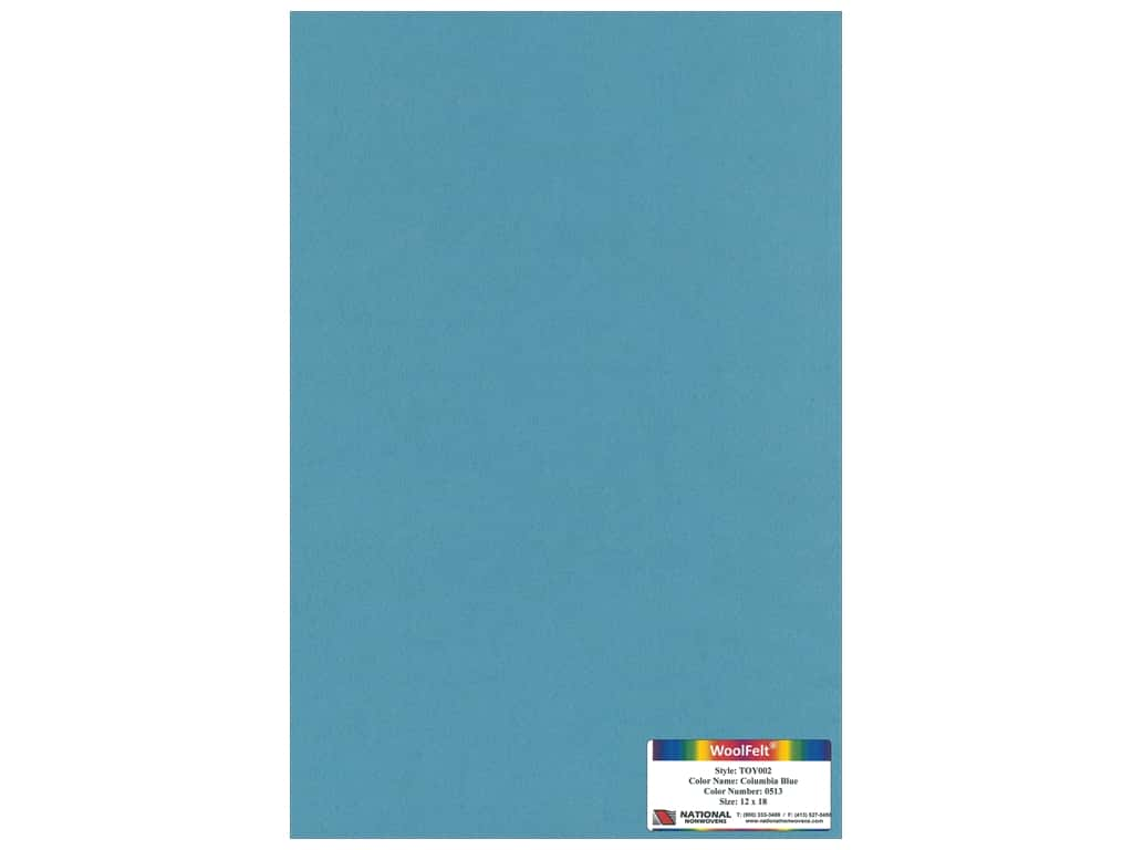 National Nonwovens 35% Wool Felt 12 x 18 in. Columbia Blue (10 sheets)