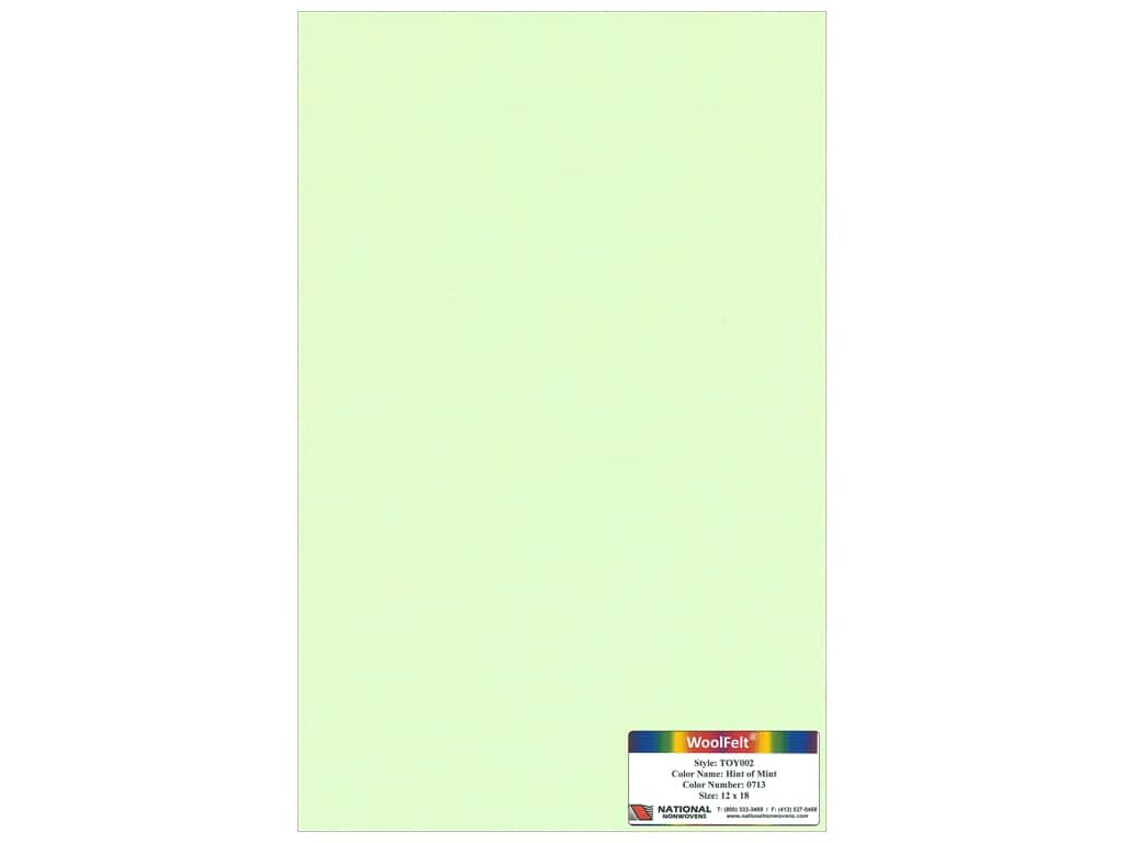 National Nonwovens 35% Wool Felt 12 x 18 in. Hint Of Mint (10 sheets)