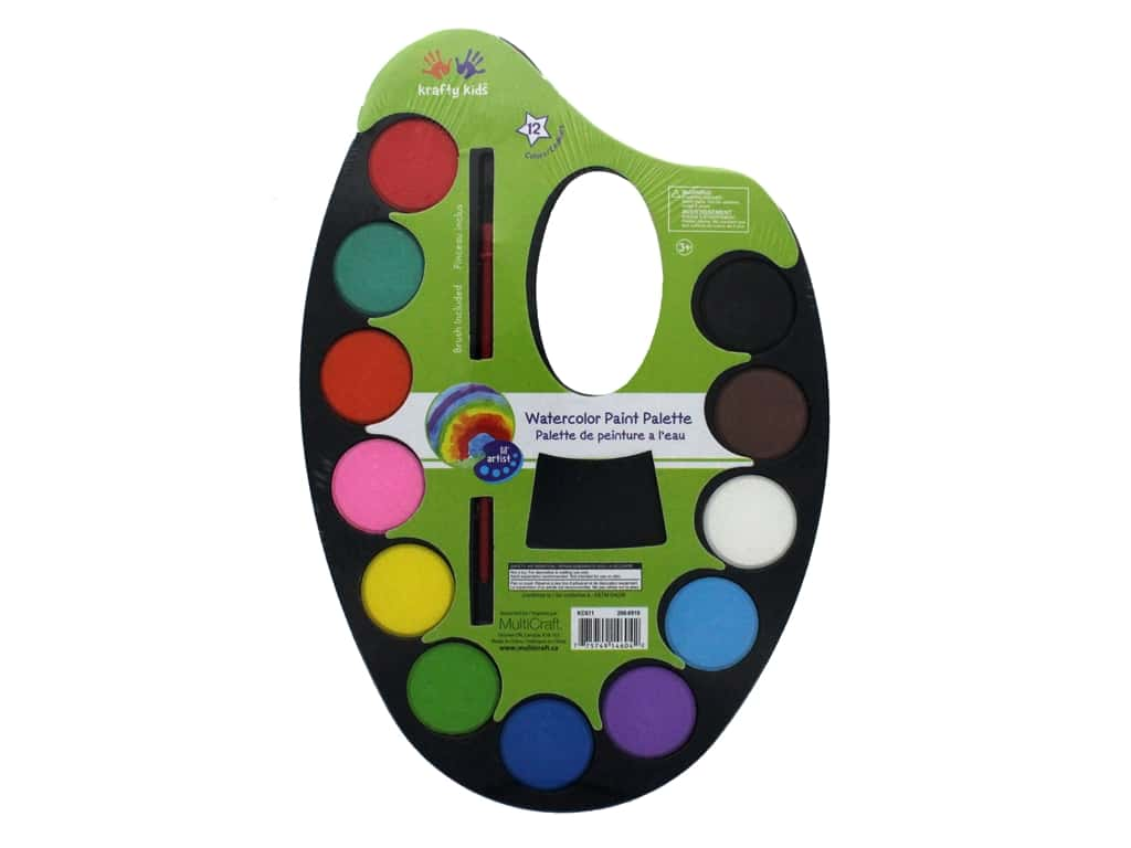 Multicraft Krafty Kids Watercolor Paint Palette 12 Color