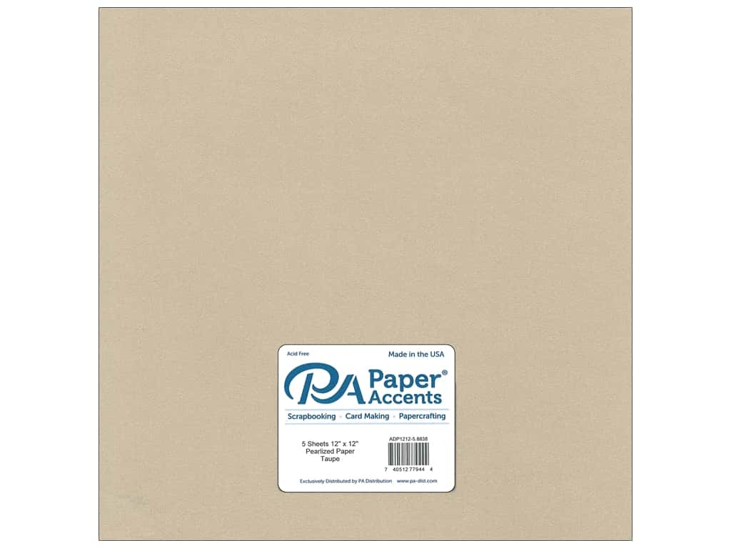 Paper Accents Pearlized Paper 12 x 12 in. #8838 Taupe 5 pc.