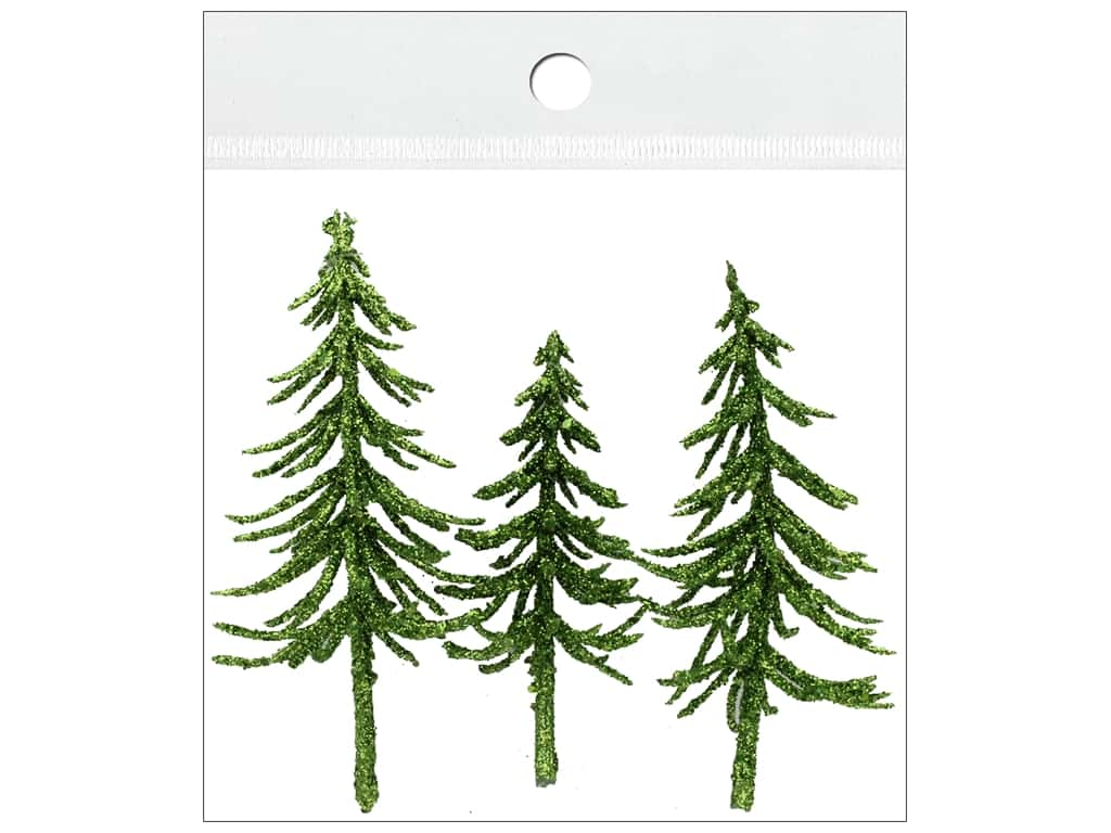 Sierra Pacific Crafts Decor Filler Trees With Gold Glitter 3 pc Green