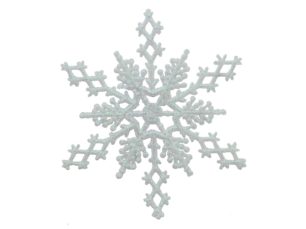 Sierra Pacific Crafts Decor Ornament Snowflake 6.5 in. 6 pc Iridescent Glitter