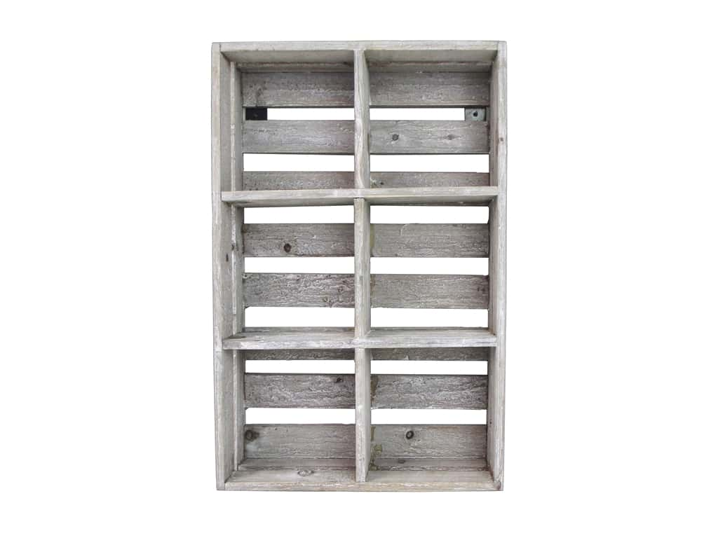 Sierra Pacific Crafts Wood Crate Slats 6 Divided White Wash