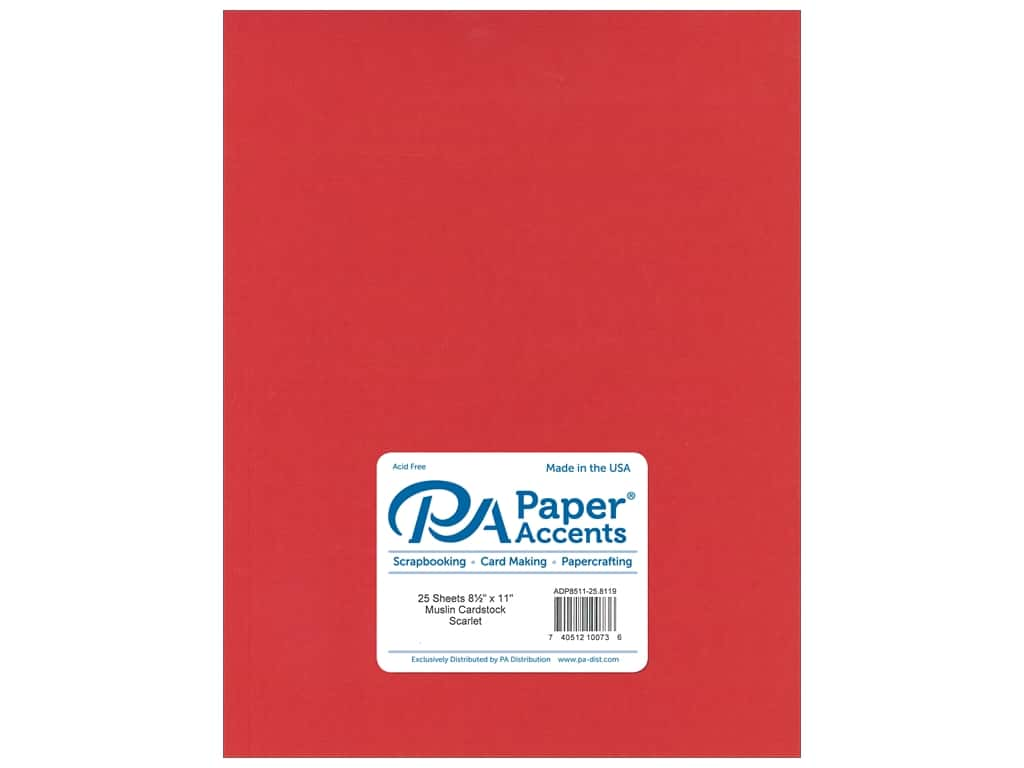 Paper Accents Cardstock 8 1/2 x 11 in. #8119 Muslin Scarlet 25 pc.