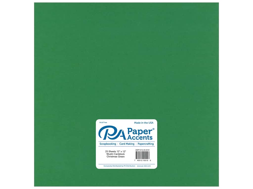Paper Accents Cardstock 12 x 12 in. #8101 Muslin Christmas Green 25 pc.