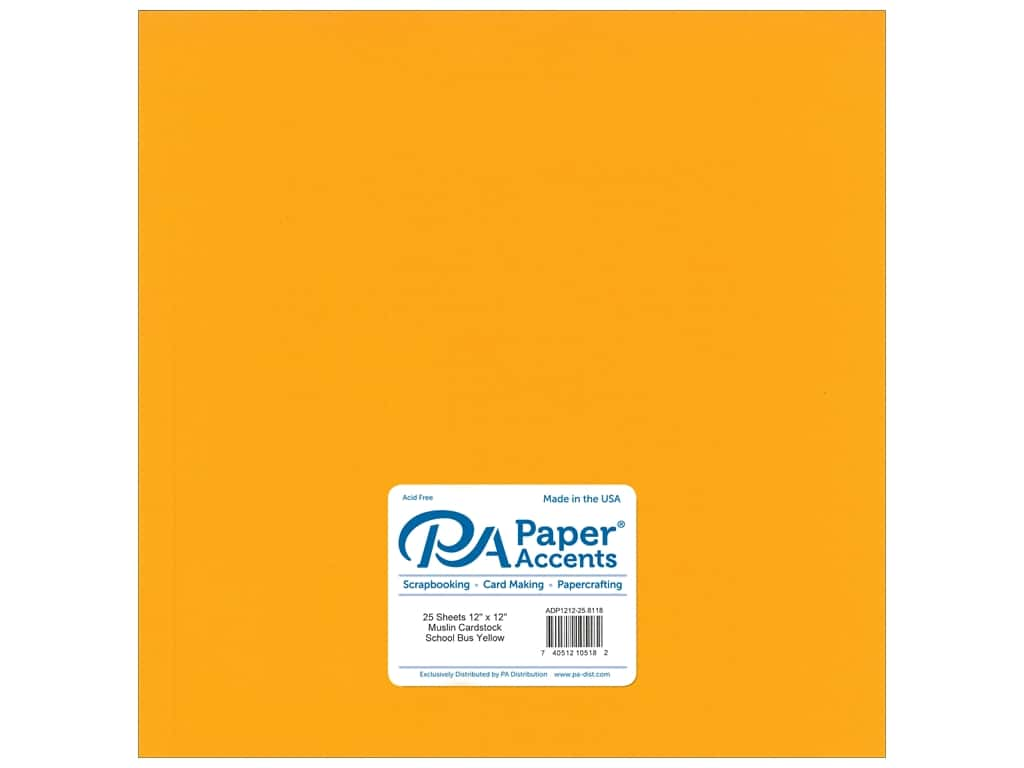 Paper Accents Cardstock 12 x 12 in. #8118 Muslin School Bus Yellow 25 pc.
