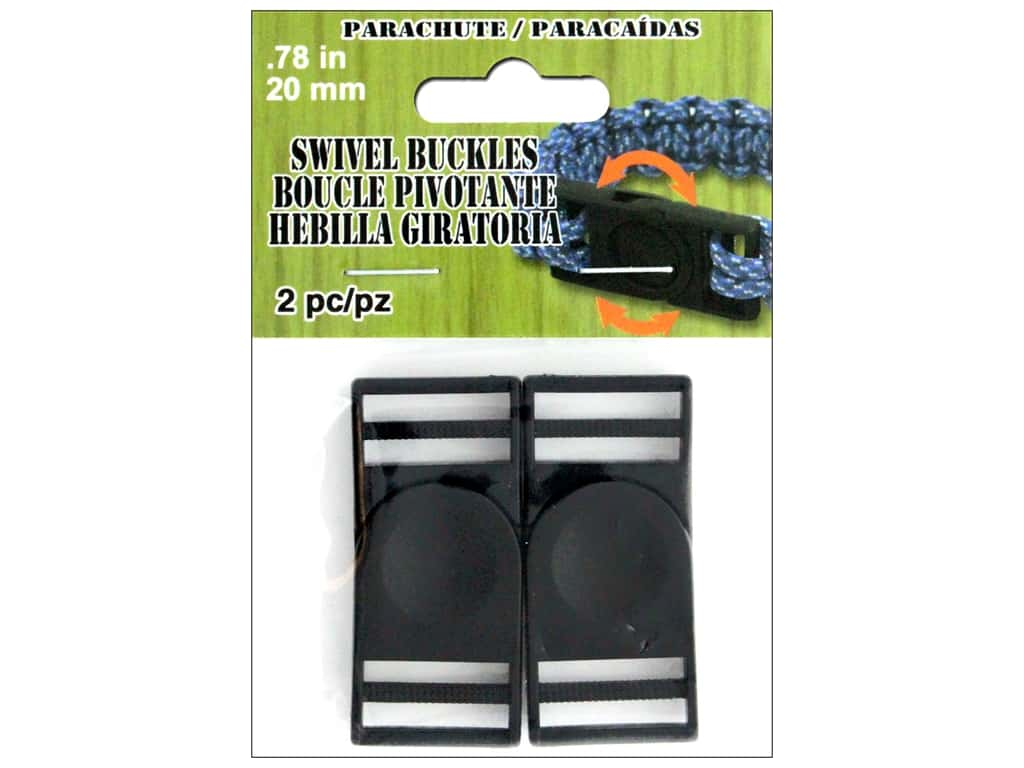 Pepperell Parachute Cord Buckle Swivel 20 mm Black 2 pc