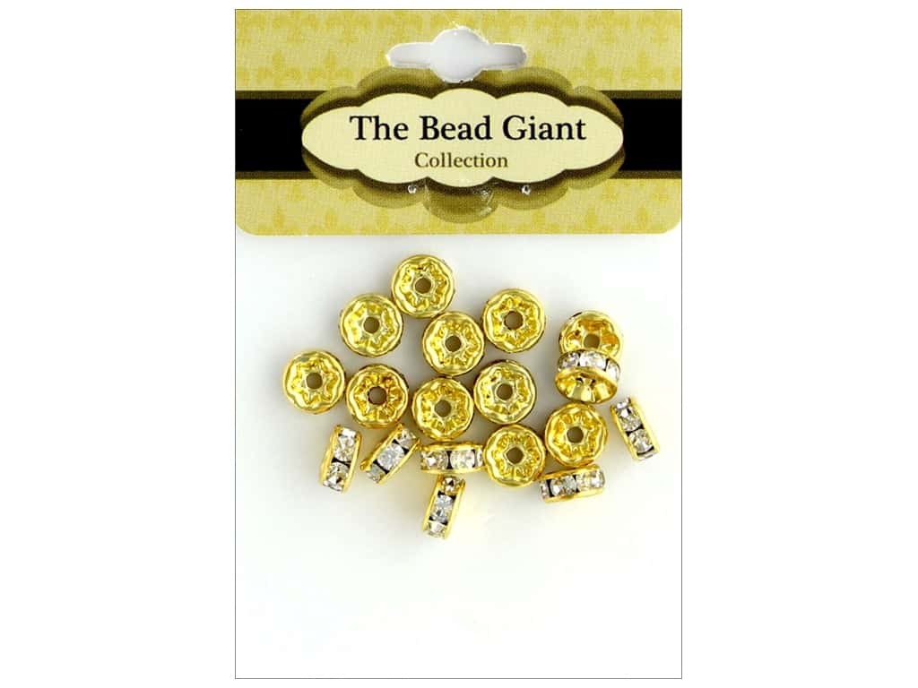 The Bead Giant Bead Disc Rhinestone 7mm Gold 18pc