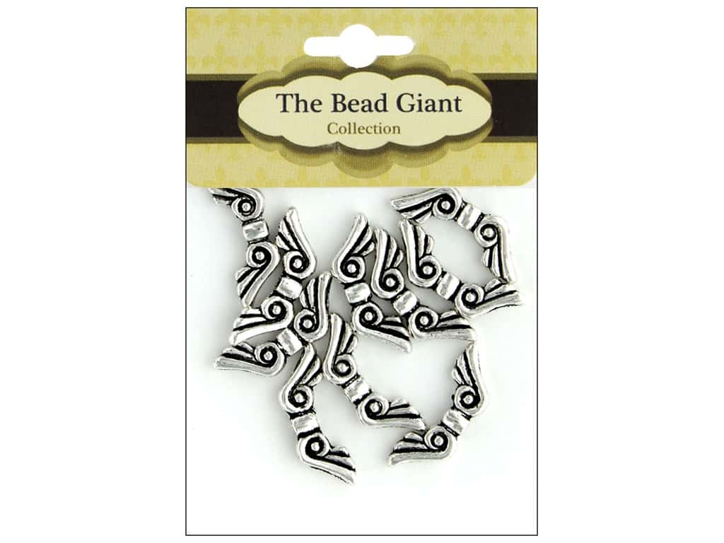 The Bead Giant Bead Angel Wing 19mm Silver 10pc