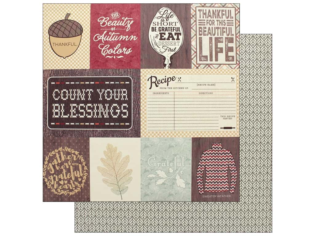 """Authentique Collection Bountiful Paper 12"""" x 12"""" Eight (25 pieces)"""