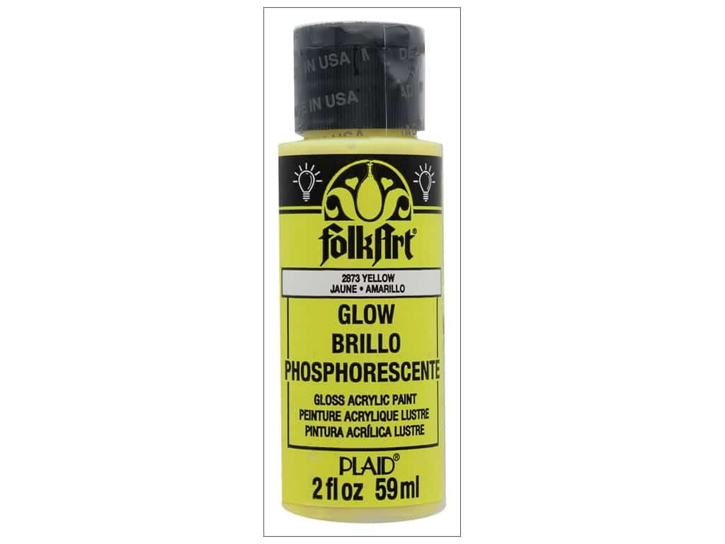 Plaid FolkArt Acrylic Paint 2 oz. #2873 Glow in the Dark Yellow