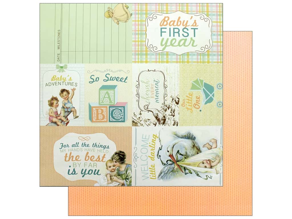 """Authentique Collection Beginnings Paper 12""""x 12"""" Seven (25 pieces)"""