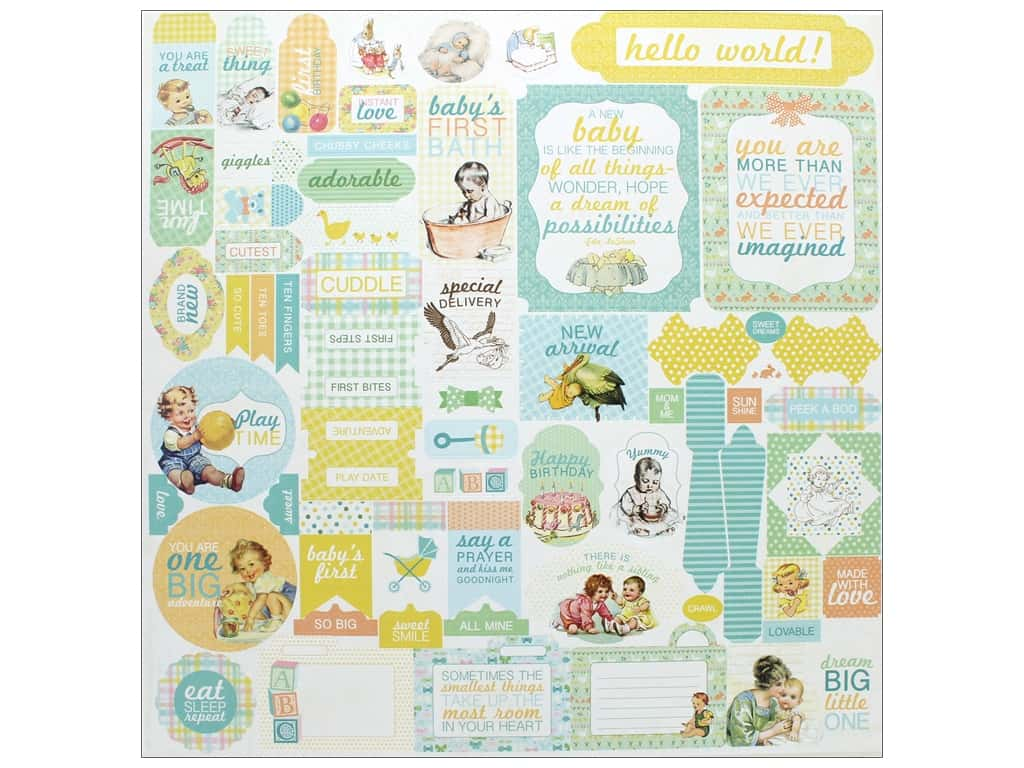 """Authentique Collection Beginnings Stickers 12""""x 12"""" Details (12 pieces)"""