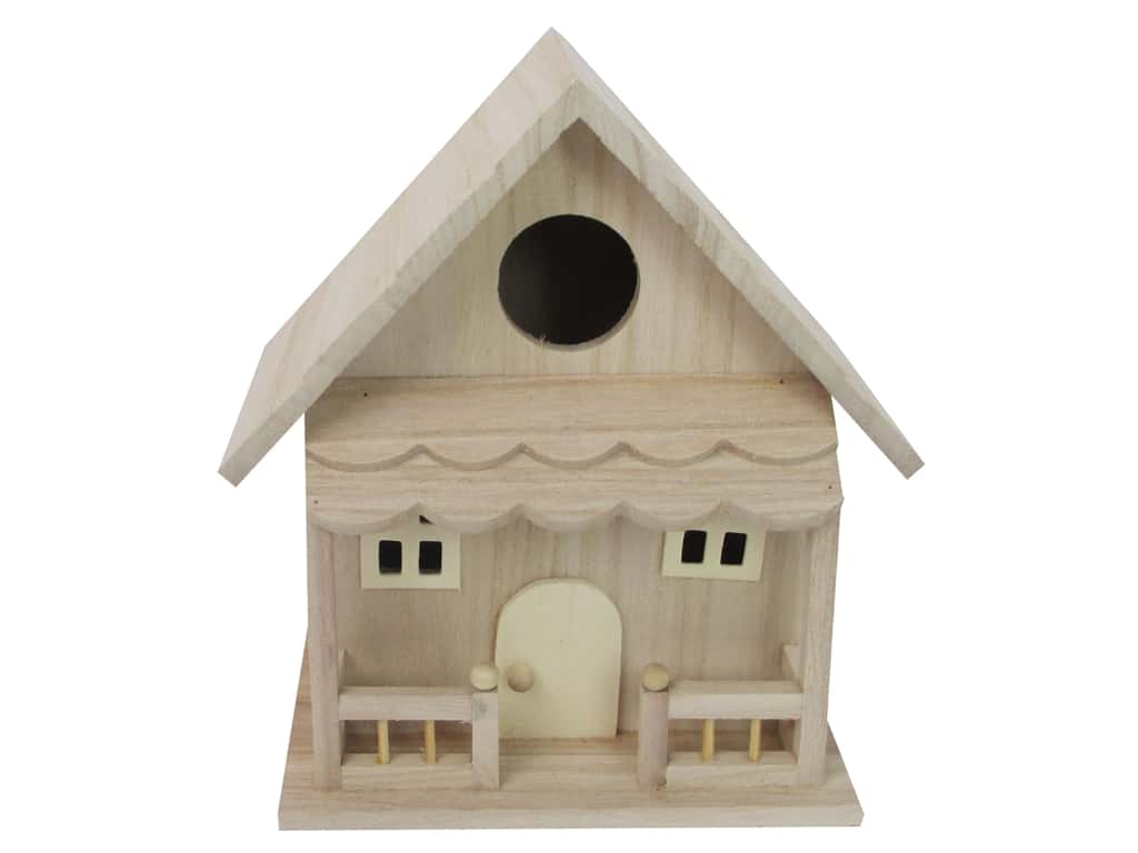 Sierra Pacific Crafts Wood Birdhouse Statuette With Porch 7.75 in. Natural