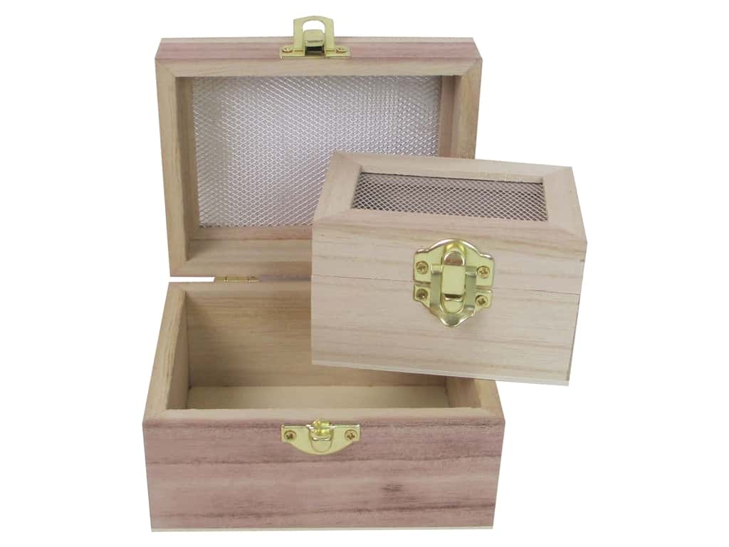 Sierra Pacific Crafts Wood Boxes With Screen Lids Set Of 2 Natural
