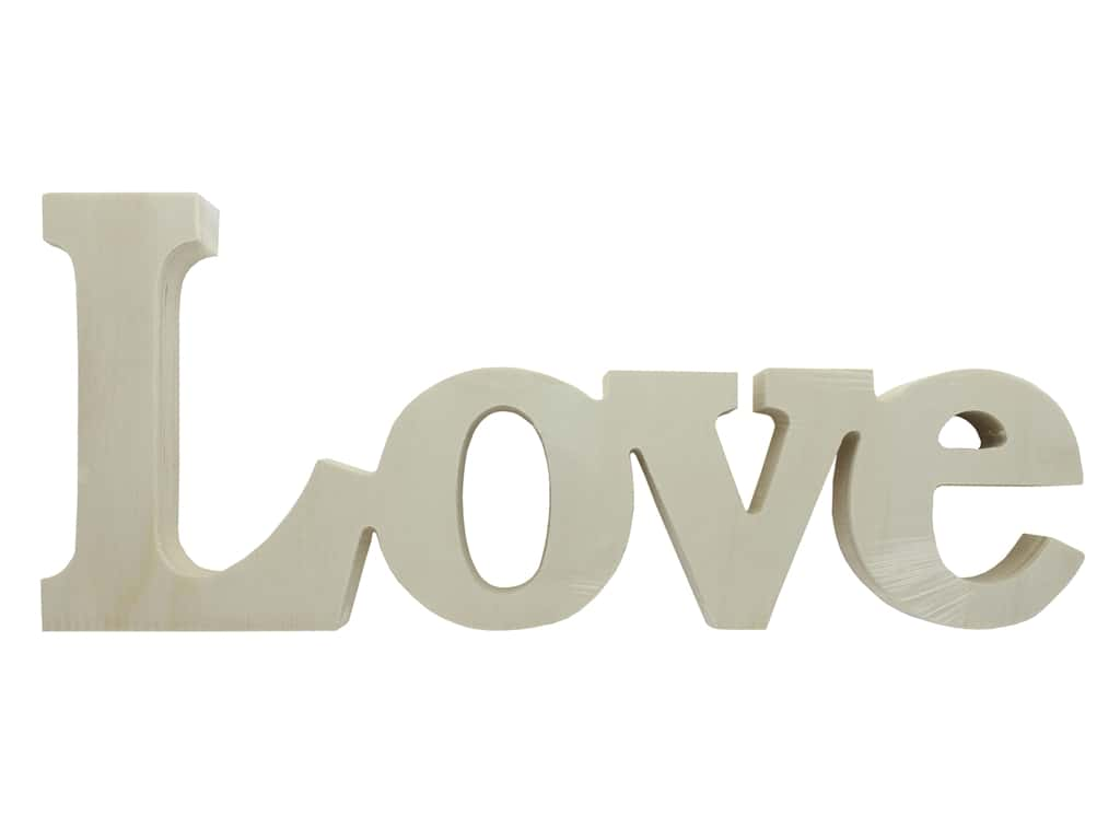 Sierra Pacific Crafts Wood Cutout LOVE 12 in. x 5 in. x 1 in.  Natural