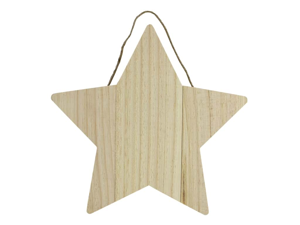 Sierra Pacific Crafts Wood Plaque Star With Hanger 11.75 in. Natural
