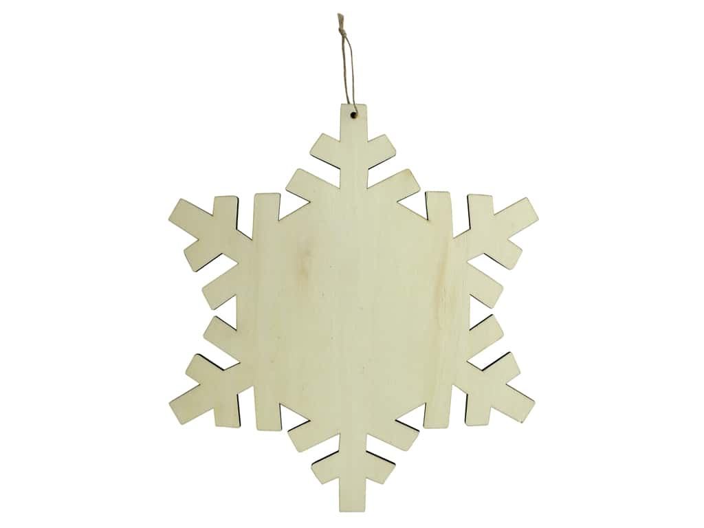 Sierra Pacific Crafts Wood Ornament Snowflake With Hanger 14 in. Natural