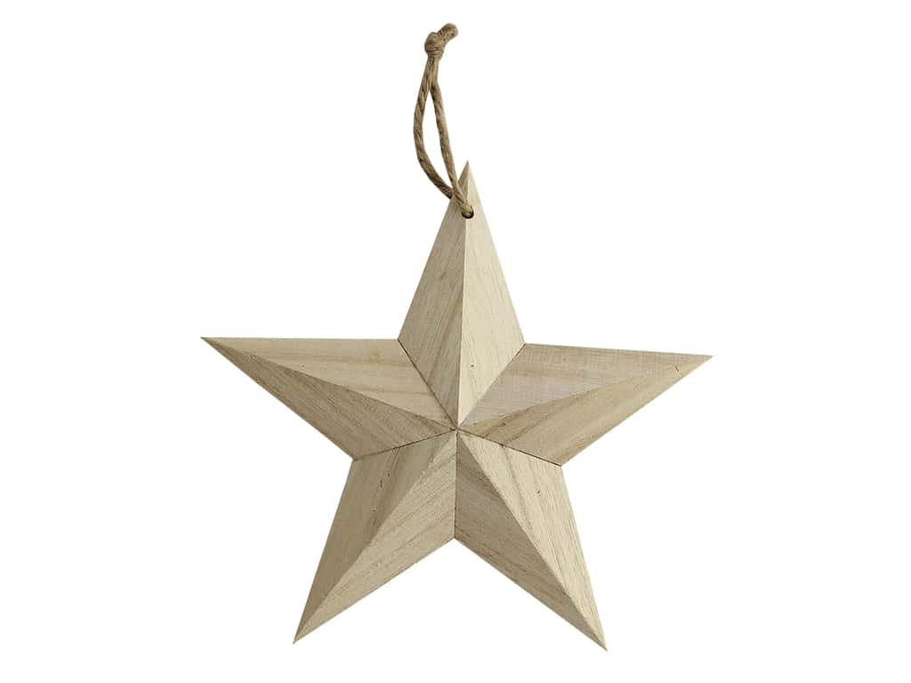 Sierra Pacific Crafts Wood Ornament Small Star With Hanger 6 in. Natural