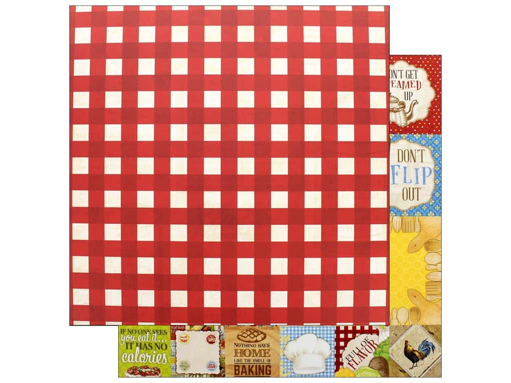 """Bo Bunny Collection Family Recipes Paper 12""""x12"""" Bistro (25 pieces)"""