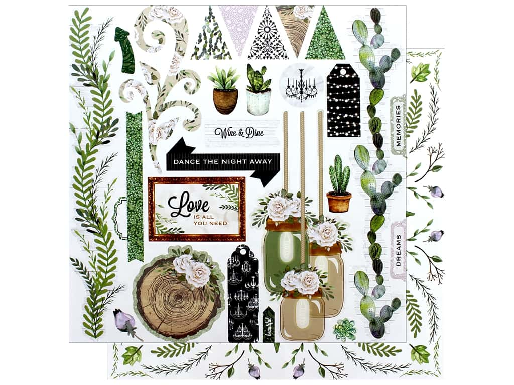 """Bo Bunny Collection Garden Party Paper 12""""x 12"""" Love Story (25 pieces)"""