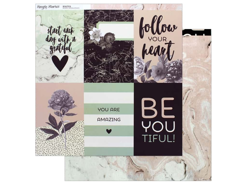 "Simple Stories Collection Beautiful Paper 12 in. x 12 in. Vertical Elements 4""x 6"" (25 pieces)"