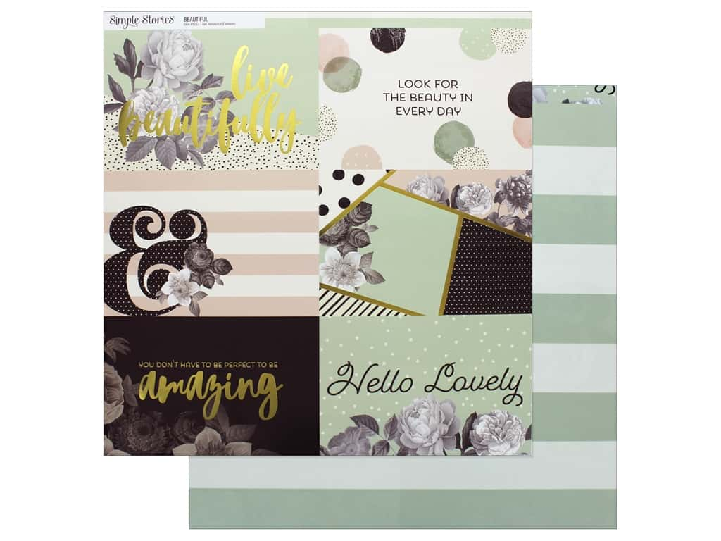 "Simple Stories Collection Beautiful Paper 12""x 12"" Horizontal Elements 4""x 4"" (25 pieces)"