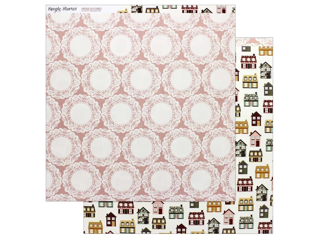 Simple Stories Collection Vintage Blessing Paper 12 in. x 12 in.  Home Sweet Home (25 pieces)