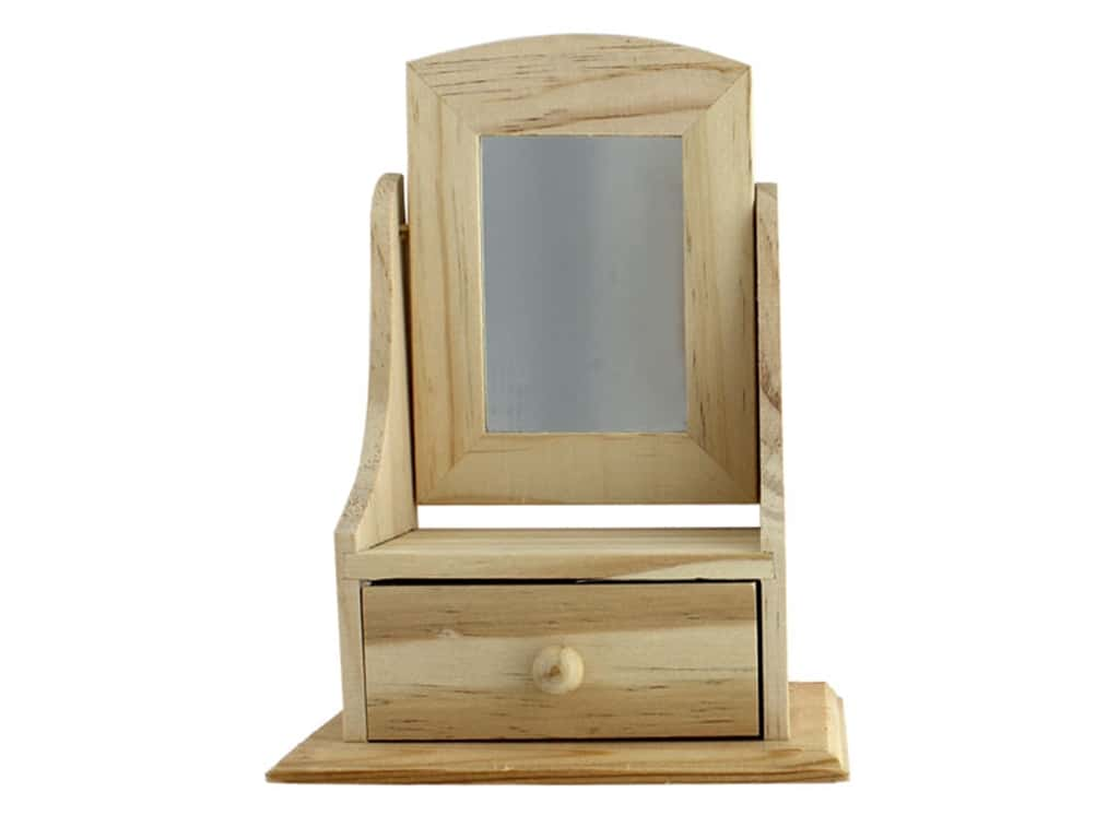 Darice Wood Box With Drawer Unfinished 5.2 in. x 7.25 in. x 3.15 in.