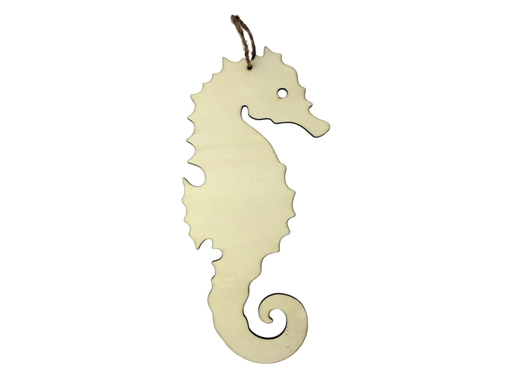 Darice Unfinished Wood Ornament Seahorse