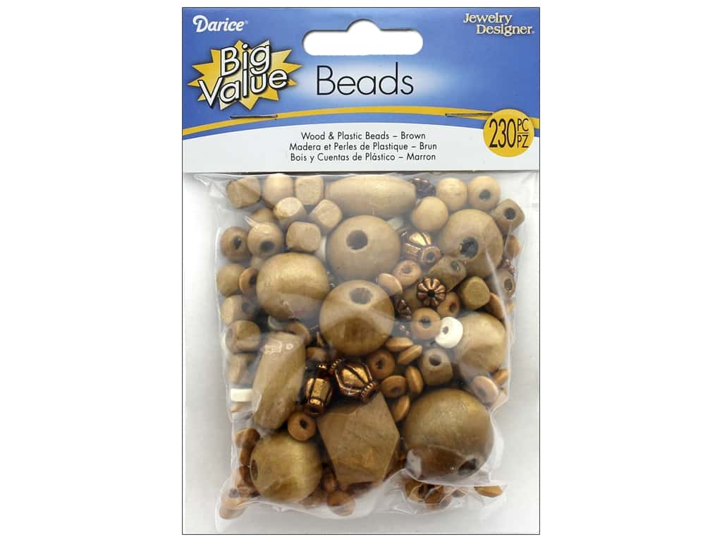 Darice Wood and Plastic Beads 230 pc. Assorted Brown