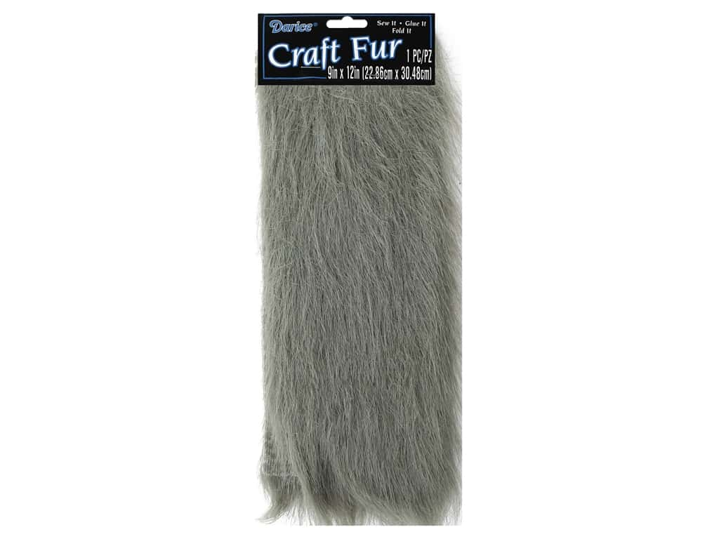 Darice Long Pile Fur 9 x 12 in. Grey